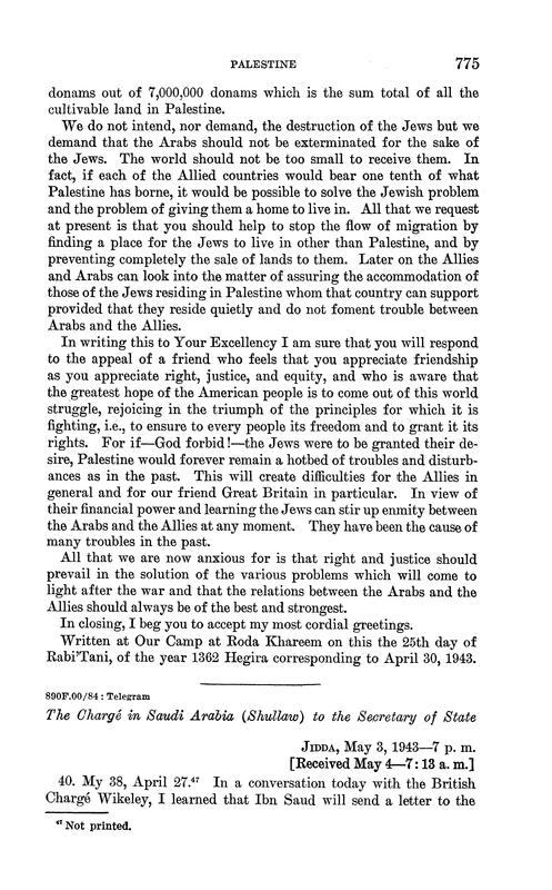 Troisième partie de la lettre issue des archives américaines des relations étrangères.